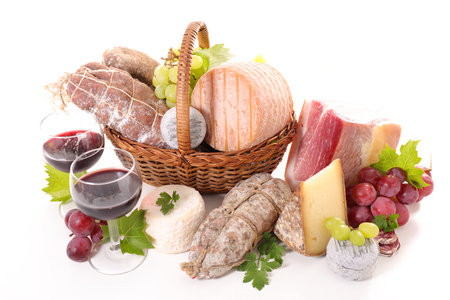 assortment: variety of cheese and salami