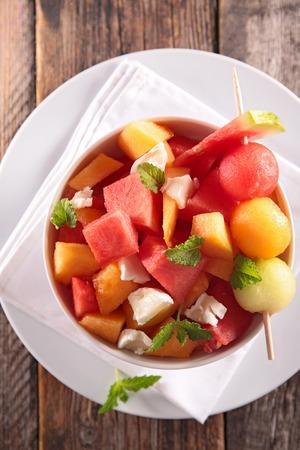 fruity salad: melon and watermelon salad Stock Photo