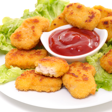 nugget: fried chicken nugget and salad