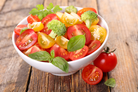 tomato salad with basil Stock Photo