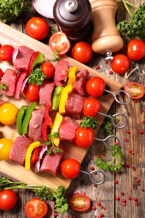 barbecue,raw beef skewer
