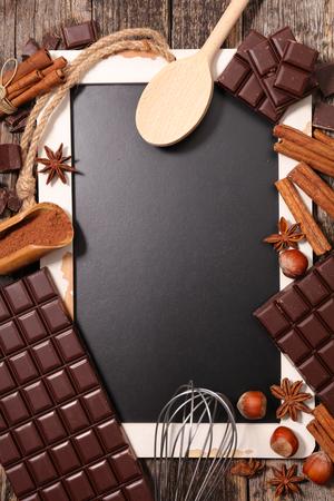 ingredient: chocolate ingredient and blackboard