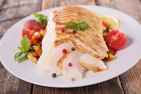 coalfish: fish fillet and vegetable