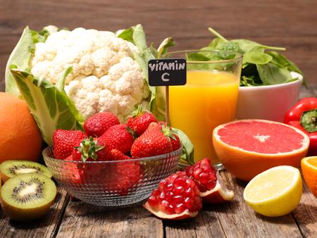 비타민 C와 음식 스톡 콘텐츠