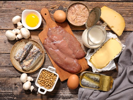 d: vitamin d, assorted food Stock Photo