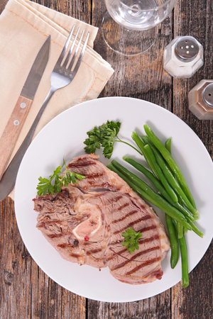 green bean: grilled lamb chop and green bean Stock Photo