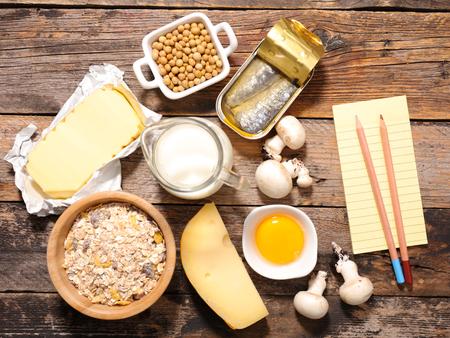 vitamin d: assorted vitamin D food