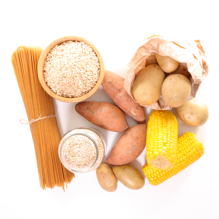 carbohydrate: assorted food high in carbohydrate Stock Photo