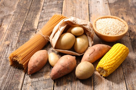 assorted food high in carbohydrate Stock Photo