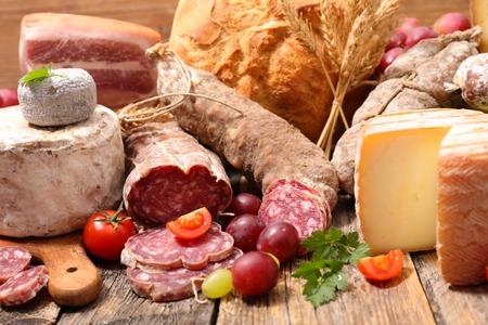 cheese and salami Standard-Bild