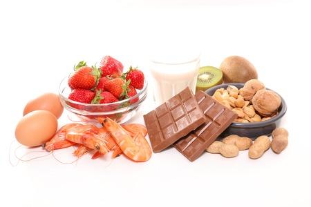 sortierte Allergie Lebensmittel Standard-Bild