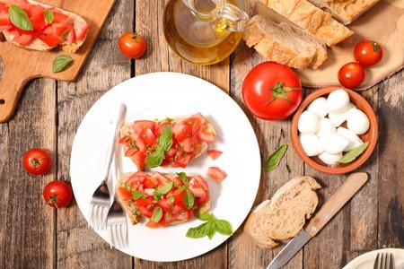 ingredient: tomato bruschetta with ingredient Stock Photo