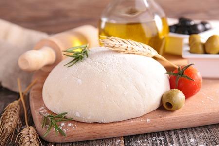 dough: raw dough pizza Stock Photo