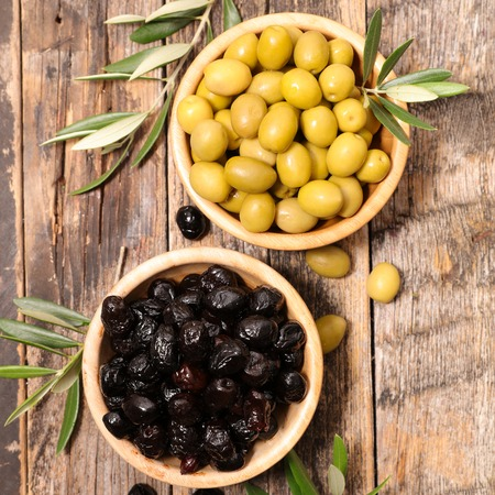 olive green: green and black olive Stock Photo