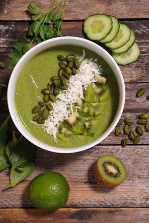 green smoothie bowl Stock Photo