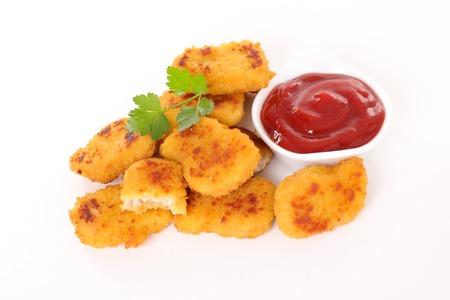 ketchup: nugget and ketchup Stock Photo