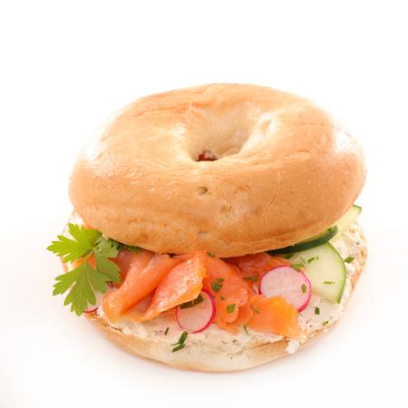 vegetarian hamburger: bagel with vegetable and salmon fillet