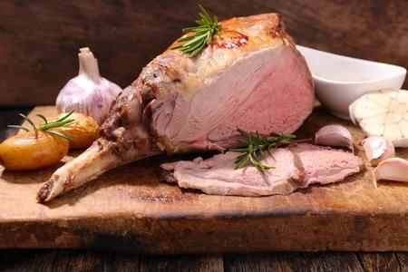 lamb leg on board Stock Photo