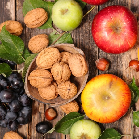composition: autumn composition with fruits Stock Photo