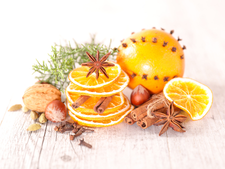 spice: dried orange and spice Stock Photo