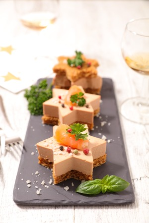 foie gras: christmas canape with gingerbread and foie gras Stock Photo