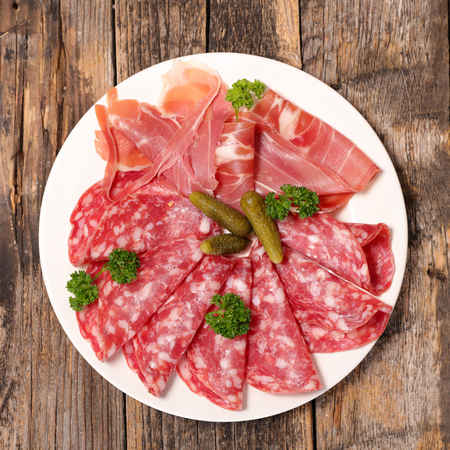cured: salami and cured ham Stock Photo
