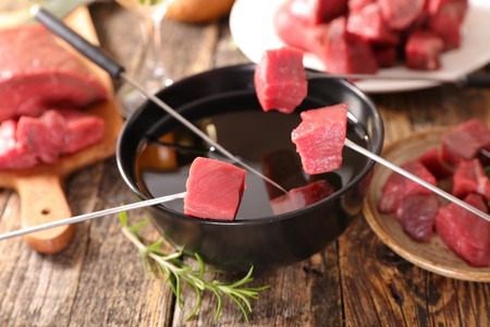 meat fondue with ingredient