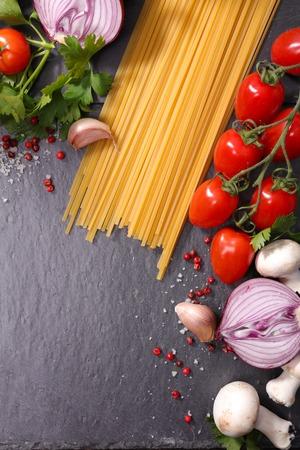 ingredient: raw spaghetti and ingredient