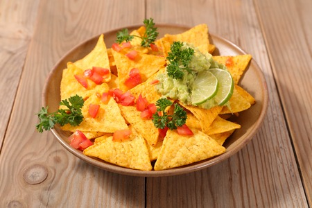 entrees: nachos and dip Stock Photo