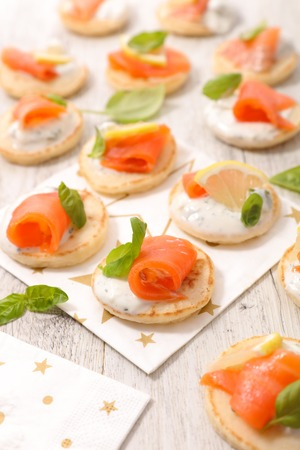 healthy snack: canape with salmon