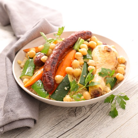 couscous with chicken and sausage Stock Photo