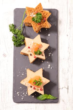 entrees: christmas entree with foie gras Stock Photo