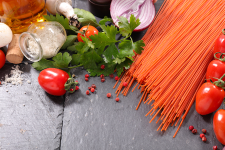 ingredient: raw spaghetti with ingredient