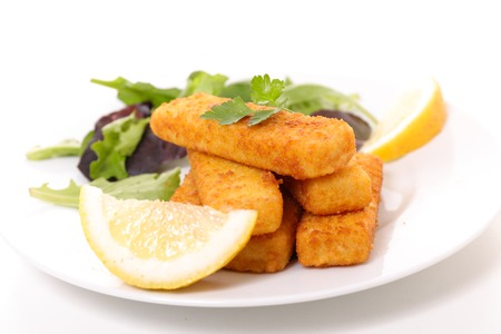 finger fish and salad