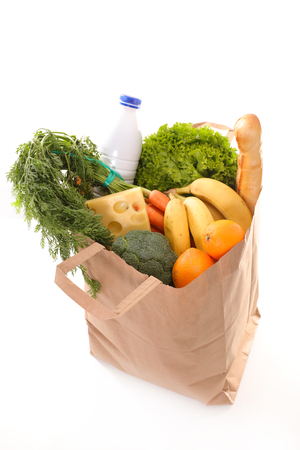 shopping bag with grocery Stock Photo
