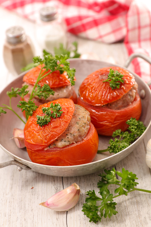 baked: baked tomato with meat Stock Photo