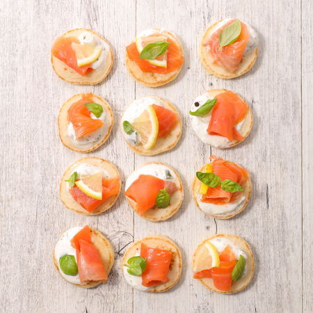 Canape with cheese and salmon Stock Photo