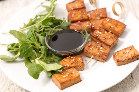 fried tofu with sesam and soysauce Stock Photo