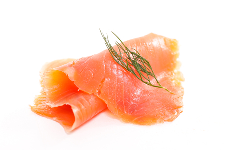 smoked salmon slice isolated on white background Stockfoto