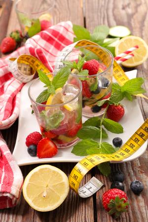 detox summer water fruit Stock Photo