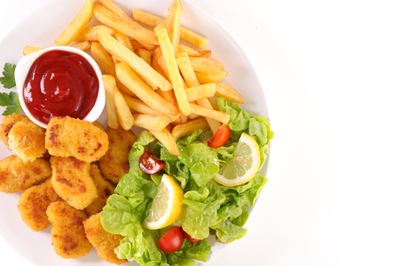 dipping: fried chicken with french fries and salad
