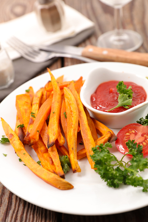 fried sweet potato with ketchup
