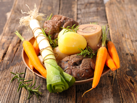 pot au feu, beef stew with vegetable and broth Stock Photo