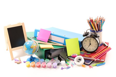 alarmclock: selection of shool or business accessories Stock Photo
