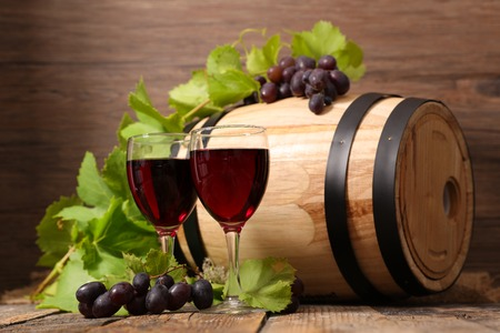 wooden barrel with red wine Stock Photo
