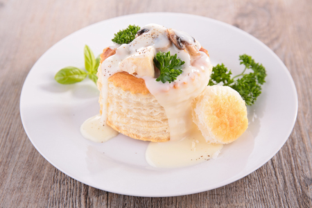 Vol au vent appetizer on white plate
