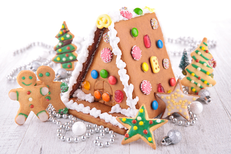 House ginger bread and cookies for Christmas Stockfoto