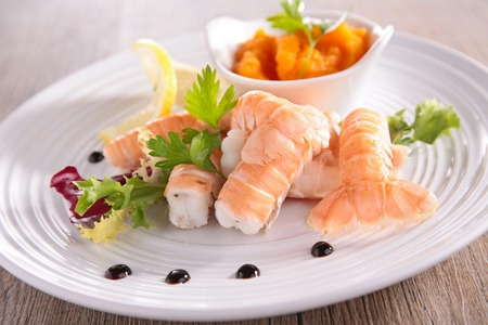 langoustine and vegetables Stock Photo