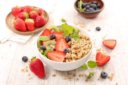 bowl of cereal and fruits