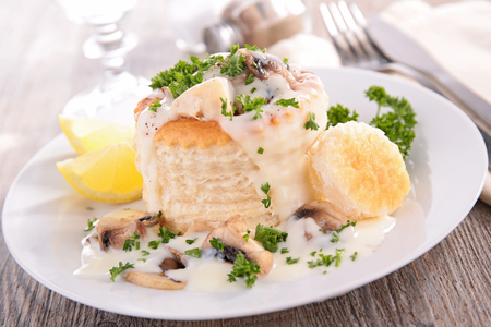 baked puff pastry with chicken,mushroom and cream Stock Photo